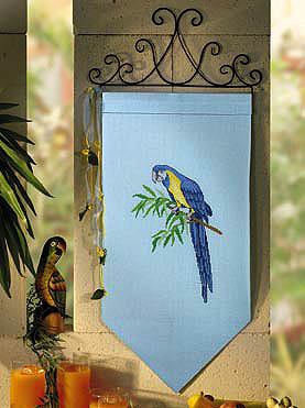 Blue parrot wall hanging - Counted cross stitch