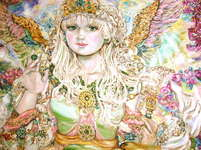 Click for more details of A happy emerald angel. (limited edition print) by Yumi Sugai