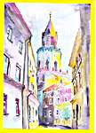 Click for more details of A view of old town II (watercolour on paper) by Agnieszka Korfanty