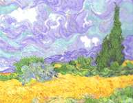 Click for more details of A Wheatfield with Cypresses - After Van Gogh (cross stitch) by DMC Creative