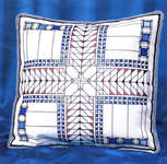 Click for more details of American Art Deco Cushion - Blue (cross stitch) by Barbara Thompson