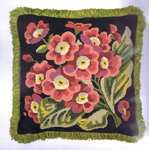 Click for more details of Auricula Cushion (tapestry) by Glorafilia