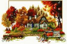 Click for more details of Autumn Cottage (no-count cross stitch) by Needleart World