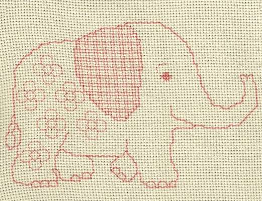 Click for more details of Baby Elephant (blackwork) by Anne Peden
