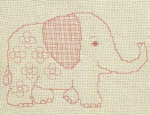 Click for more details of Baby Elephant (blackwork) by Anne Peden
