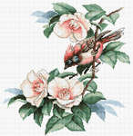Click for more details of Bird in Camelia Flowers (cross stitch) by Luca - S