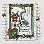 Click for more details of Birds at Summer Window (cross stitch) by Permin of Copenhagen