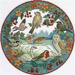 Click for more details of Birds in Winter (cross stitch) by Lesley Teare