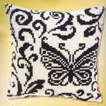 Click for more details of Black and White Butterfly Cushion Front (tapestry) by Vervaco