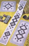 Black and White Hardanger Table Mats with Diamonds and Zigzag Edges