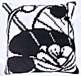 Click for more details of Black and White Waterlily Cushion Front (tapestry) by Royal Paris