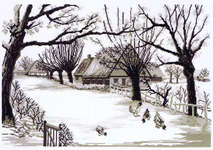 Click for more details of Black and White Winter Farm (cross stitch) by Permin of Copenhagen