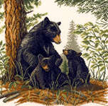 Click for more details of Black Bear with Cubs (cross-stitch kit) by Lanarte