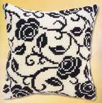 Click for more details of Black Rose Cushion Front (tapestry) by Vervaco
