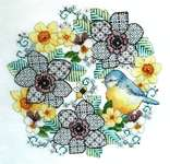 Click for more details of Blackwork Anemones and Blue Tit (cross stitch) by Lesley Teare