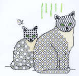 Click for more details of Blackwork Cat and Kitten (blackwork) by Classic Embroidery