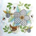 Click for more details of Blackwork Flower with Wren (blackwork) by Lesley Teare