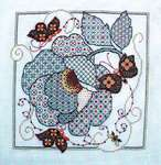 Click for more details of Blackwork Flowers and Butterflies (blackwork) by Lesley Teare