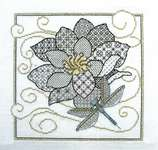 Click for more details of Blackwork Flowers and Dragonfly (blackwork) by Lesley Teare