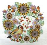 Click for more details of Blackwork Flowers with Goldfinch (cross stitch) by Lesley Teare