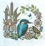 Click for more details of Blackwork Iris and Kingfisher (blackwork) by Lesley Teare