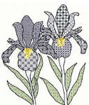 Click for more details of Blackwork Irises (blackwork) by Bothy Threads