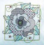 Click for more details of Blackwork Poppy (blackwork) by Lesley Teare