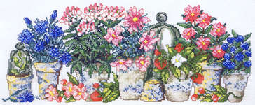 Click for more details of Blue and Pink Flowers in Pots (cross stitch) by Permin of Copenhagen