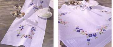 Click for more details of Blue and Pink Flowers Table Covers (embroidery) by Deco-Line