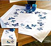 Click for more details of Blue Butterflies Table Cover (embroidery) by Vervaco