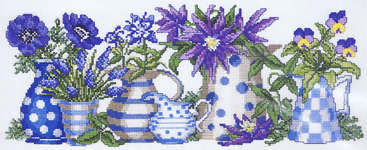 Click for more details of Blue Flowers and Pots (cross stitch) by Permin of Copenhagen