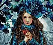 Click for more details of Blue Flowers Girl (cross stitch) by Lanarte