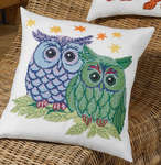 Click for more details of Blue/Green Owls Cushion (cross stitch) by Permin of Copenhagen