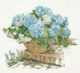 Click for more details of Blue Hydrangea (cross stitch) by Thea Gouverneur