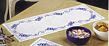 Click for more details of Blue Rose Table Centre (cross-stitch kit) by Permin of Copenhagen