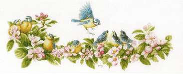 Click for more details of Blue Tit Family and Blooms (cross stitch) by Marjolein Bastin