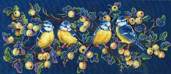 Click for more details of Blue Tits (Titmouses) (cross stitch) by Merejka