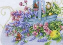 Click for more details of Bouquet with Peacock Butterfly (cross-stitch kit) by Marjolein Bastin