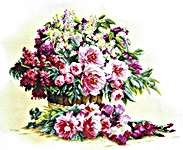 Click for more details of Bouquets of Lilacs and Peonies (cross-stitch kit) by Lanarte