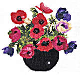 Click for more details of Bowl of Anemones (cross stitch) by Thea Gouverneur