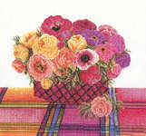 Click for more details of Bowl of Ranunculus and Anemones (cross stitch) by Thea Gouverneur