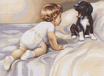 Click for more details of Boy with Dog (cross stitch) by Luca - S