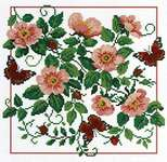Click for more details of Briar Roses and Butterflies (cross stitch) by Lesley Teare