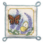 Click for more details of Butterflies and Buddleia Pincushion (cross stitch) by Textile Heritage