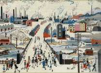 Click for more details of Canal Bridge after Lowry (tapestry) by Bothy Threads