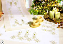 Click for more details of Candles and Stars on Cream Hardanger Table Cover (hardanger kit) by Rico Design