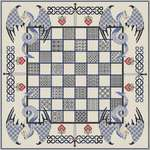 Click for more details of Chessboard with Blue Dragons (blackwork) by DoodleCraft Design