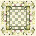 Click for more details of Chessboard with Green Dragons (cross stitch) by DoodleCraft Design