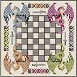 Click for more details of Chessboard with Multicolour Dragons (cross stitch) by DoodleCraft Design