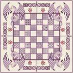 Click for more details of Chessboard with Purple Dragons (cross stitch) by DoodleCraft Design